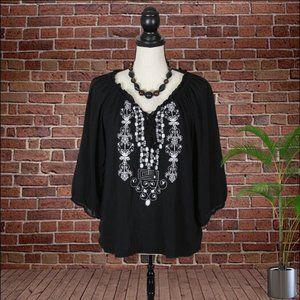 One World Black Boho Style Top Size Large